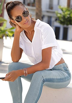 Tie Knot Button Up Blouse, Side Stripe Jeans product image (X34476WH_and_X38173DE_6)