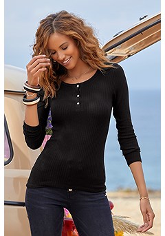 Ribbed Long Sleeve Top product image (X34477BK_1)