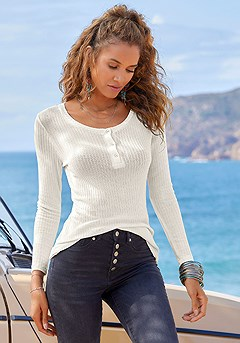 Ribbed Long Sleeve Top product image (X34477OFWH_1)