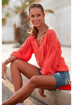 Flowy Button Up Blouse, Frayed Detail Jean Shorts product image (X34480RD_1)