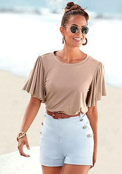 High Waisted Shorts, Flowy Sleeve Top product image (X34502NU_1)