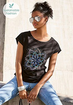 Graphic Flower Top product image (X34504-BK_1)