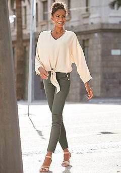 Tie Front V-Neck Blouse product image (X34507.SA.X38205.KH.1)