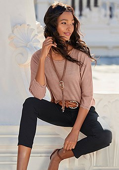 Lace Trim 3/4 Sleeve Top, Skinny Leg Cropped Pants product image (X34512.BE-X38041.BK-X63084.SLBR)