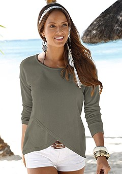 Soft Knit Wrap Sweater product image (X36001-KH)