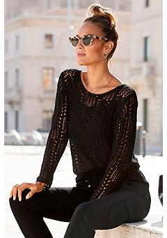 Light Knit Sweater product image (X36004-BK_1)