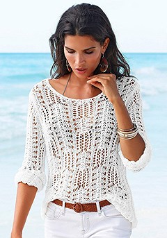 Light Knit Sweater, Cuffed Denim Shorts product image (X36004-WH_00)