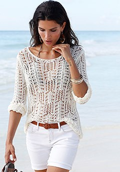 Light Knit Sweater, Cuffed Denim Shorts product image (X36004.WH.X37001.WH.P4)