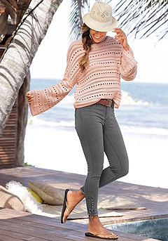 Trumpet Sleeve Sweater, Lace Up Jeggings product image (X36017.X38051.CP)
