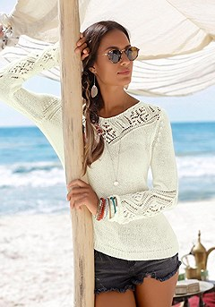 Ajour Knit Detail Sweater product image (X36018-OFWH-00)