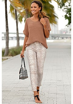 Short Sleeve Knit Sweater, Distressed Look Jeggings product image (X36019.BE.X38050.MUPR.1)