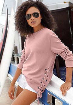 Lace Up Detail Sweatshirt product image (X36021-MV-00)