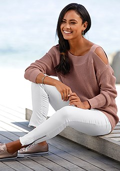 Drop Sleeve Cut Out Sweater product image (X36025-MV-00-S.X38050.WH)