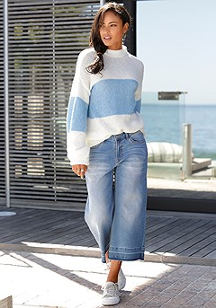 Oversized Color Block Sweater product image (X36026-WHBL-00-S)