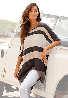 Ribbed Poncho-Look Sweater product image (X36066BWST_1)