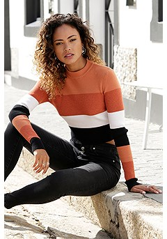 Cropped Color Block Sweater product image (X36068BWST_1.1)