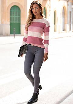 Striped Open Knit Sweater product image (X36071BYST_1)