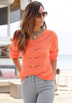 Open Knit V-Neck Sweater, Button High Waist Jeggings product image (X36073PAP_1)