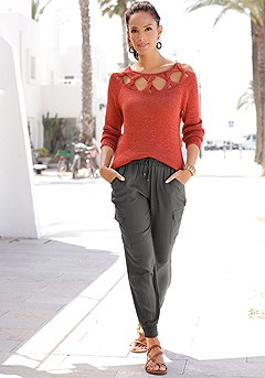 Knitted Cutout Sweater, Drawstring Waist Pants product image (X36075RT_1)