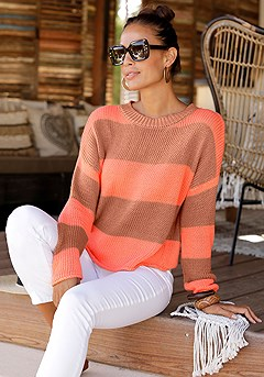 Block Stripe Sweater, Skinny Leg Cropped Pants product image (X36076MSTR_1)