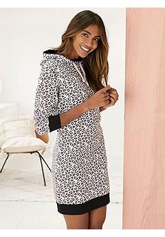 Leopard Print Hoodie Dress product image (X36079LEBK_1)