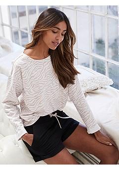 Drawstring Lounge Shorts, Zebra Print Sweatshirt product image (X36080NGZE_and_X37038BK_1)