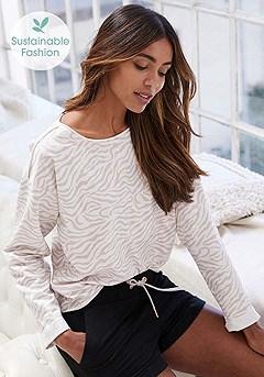 Zebra Print Sweatshirt, Drawstring Lounge Shorts product image (X36080NGZE_and_X37038BK_6)