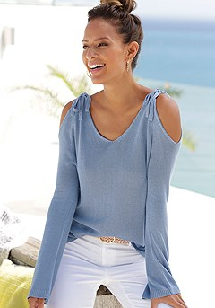 Bow Cold Shoulder Sweater product image (X36091LB_1)