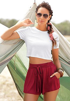 Tie Waist Shorts product image (X37011-RD-00-KS)