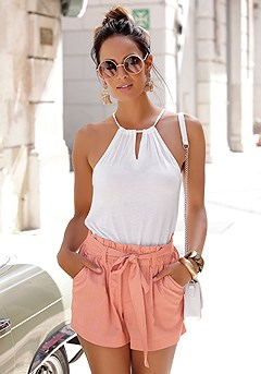 Linen Paperbag Waist Shorts product image (X37042POWD_1)