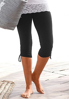Gathered Effect Capri Leggings product image (X38001-BK_01)