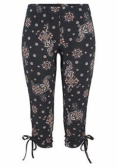 Casual V-Neck Top, Paisley Printed Capri Pants product image (X38020-BKMU_01)