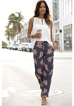 Smocked Print Casual Pants product image (X38029)