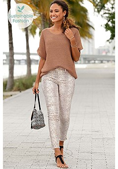 Short Sleeve Knit Sweater, Distressed Look Jeggings product image (X38050MUPR)