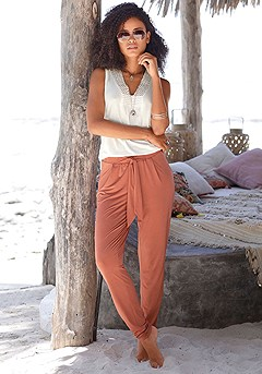 High Waisted Tie Pants product image (X38052-RD-00)
