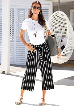 Tie Waist Striped Culottes product image (X38053.BWST.X34134.BKWH.P1)