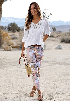 Eyelet Panel Boho Top, Floral Print Jeggings product image (X38062.WHMU.0.X34157.WH.0)