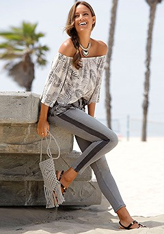 Palm Print Carmen Top, Side Stripe Jeans product image (X38173.X34410CRMU__)
