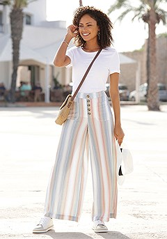 Striped Wide Leg Pants product image (X38181)