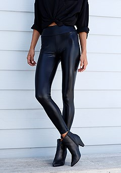 Shiny High Waist Leggings product image (X38203BK_1)