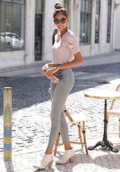 Ruched Sleeve Sweater, High Waisted Pants product image (X38205.GYMO.3)