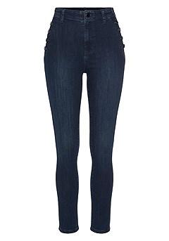 Striped V-Neck Blouse, High Waisted Pants product image (X38205.NV_3)
