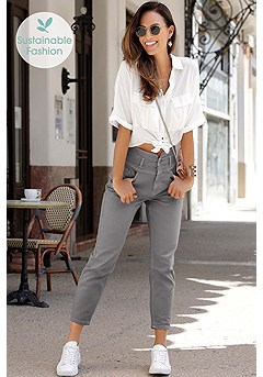Cropped High Waisted Jeans product image (X38210.GY.X34465.WH.1)