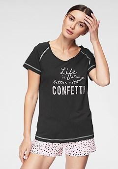 Graphic Short Style Pajama Set product image (X40014-BKRS-00)