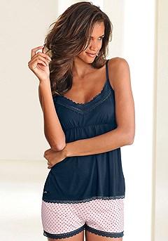 Lace Trim Pajama Shorts Set product image (X40015-BLPK-00)
