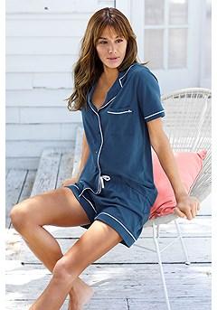 Short Style Comfy Pajama Set product image (X40042_BL)
