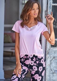Lace Neckline Pajama Top product image (X40049RS_X39060BKRS_2)