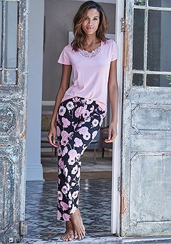 Floral Print Pajama Pants product image (X40049RS_X39060BKRS_3)
