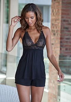 Lace Pajama Set product image (X40050BK_1)
