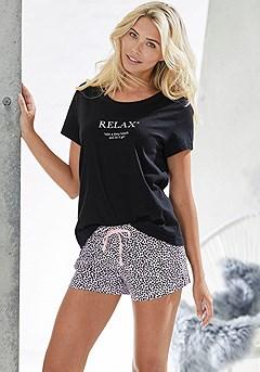 Soft Graphic Pajama Top,Animal Print Pajama Shorts product image (X40056RSMO)